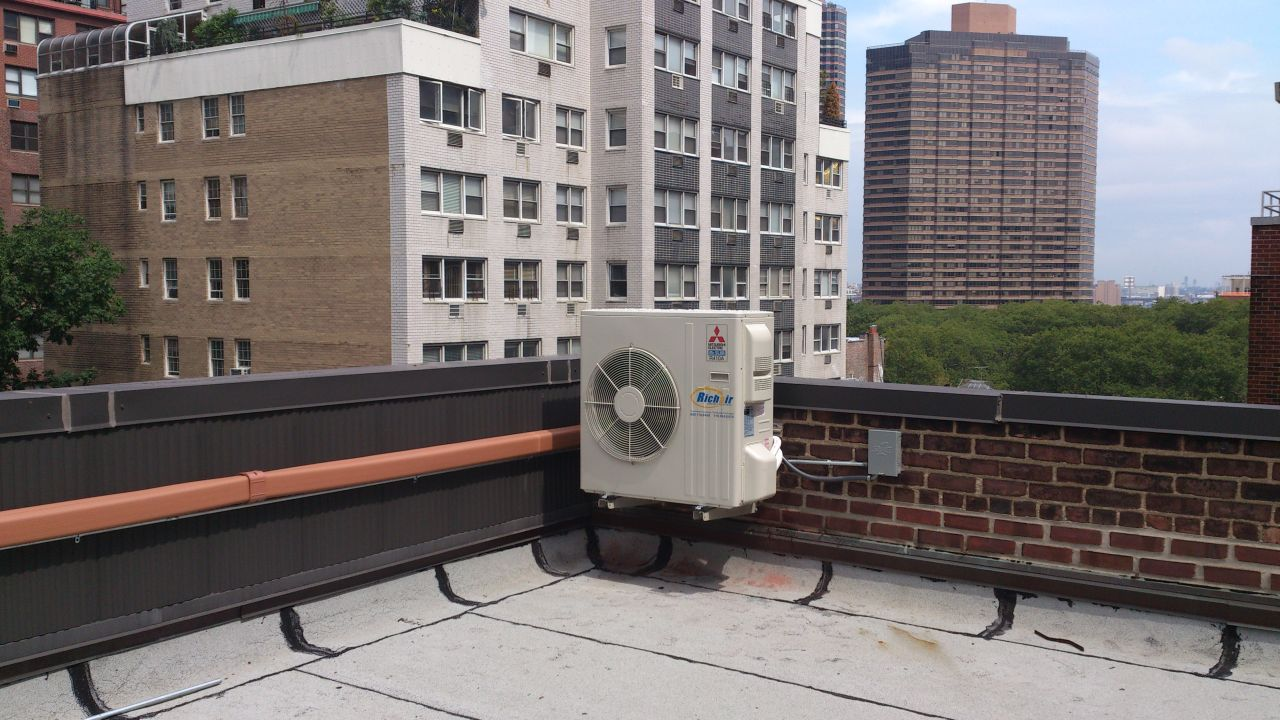 Mini slim outdoor unit on the roof in New York, NY