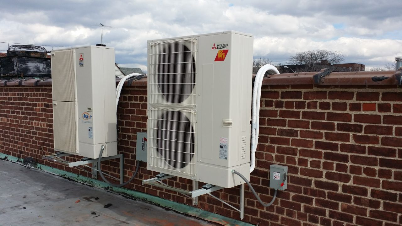 Mitsubishi outdoor units on the roof in Brooklyn, NY