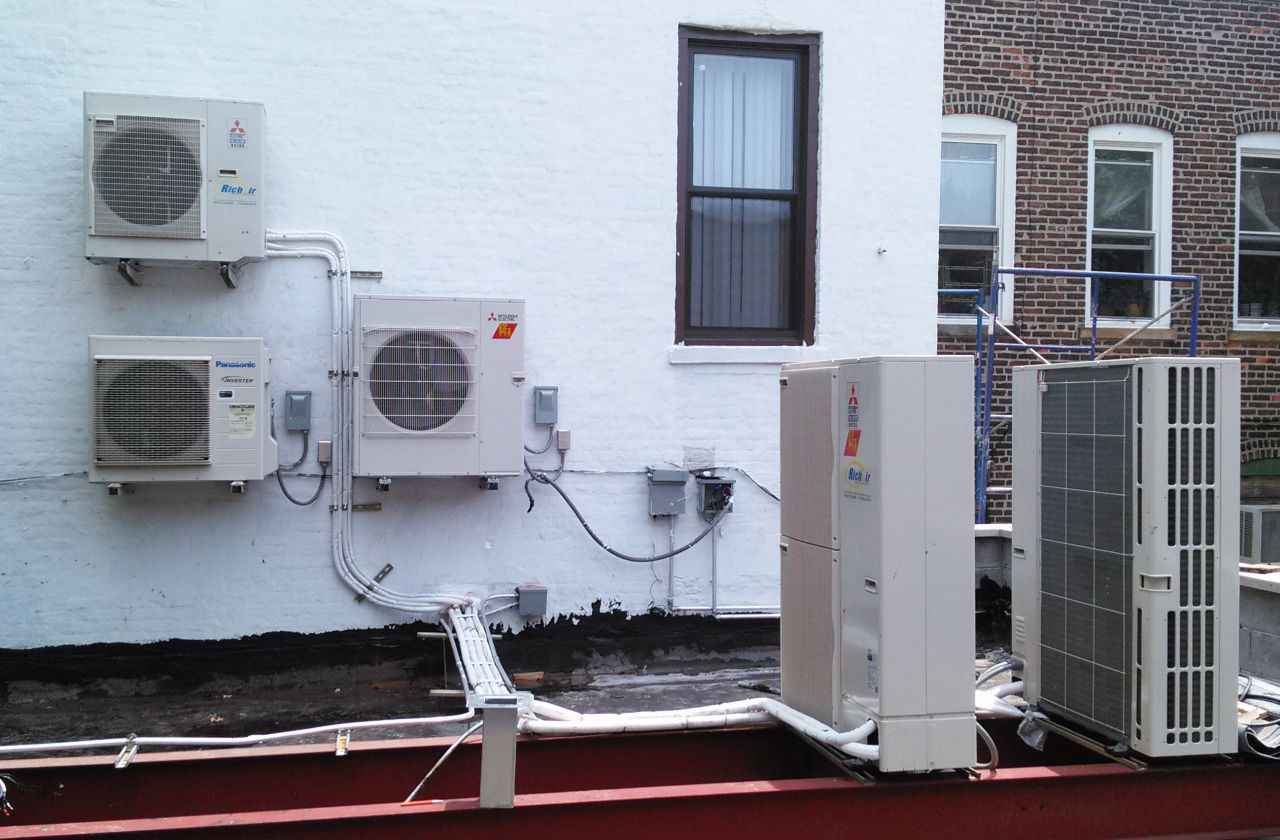 Multiple outdoor units installed in Brooklyn, NY
