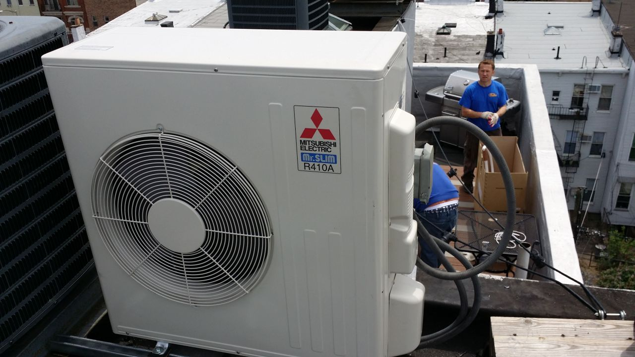 Outdoor unit installation on the roof in New York, NY
